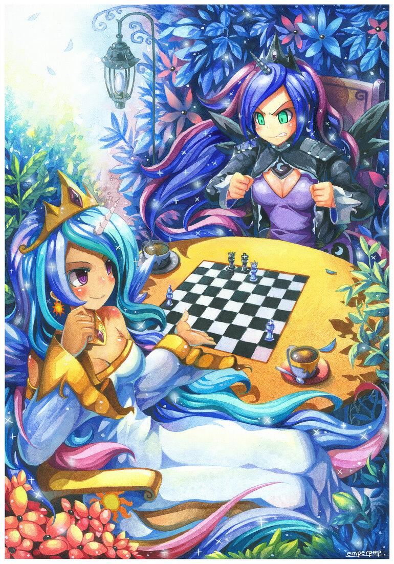 Celestia and Luna.. Who doesn't enjoy a good game of chess? Original link: www.deviantart.com/art/Princess-Celestia-and-Pr.... L 55. Chess. Celestia and Luna Who doesn't enjoy a good game of chess? Original link: www deviantart com/art/Princess-Celestia-and-Pr L 55 Chess