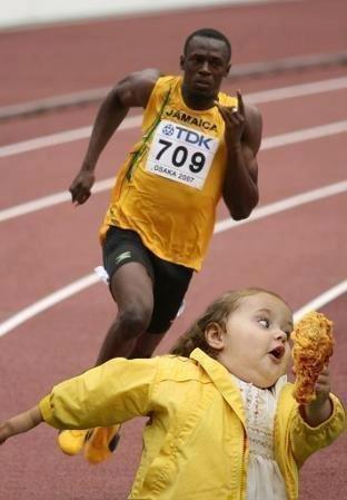 Chicken. Bolt deserves that chicken... !! Chicken irresistible