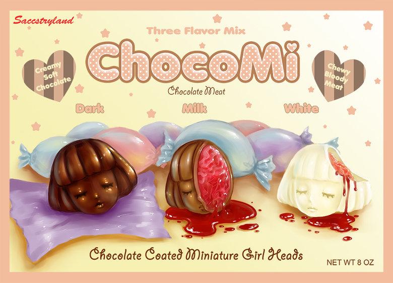 ChocoMi. Art by Saccstary. saccstary Art chocolate morbidish candy heads girls