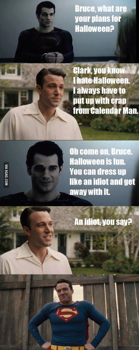 Clark gets Bruce to enjoy Halloween.. . lull III! with Wall trim Man. Clark gets Bruce to enjoy Halloween lull III! with Wall trim Man