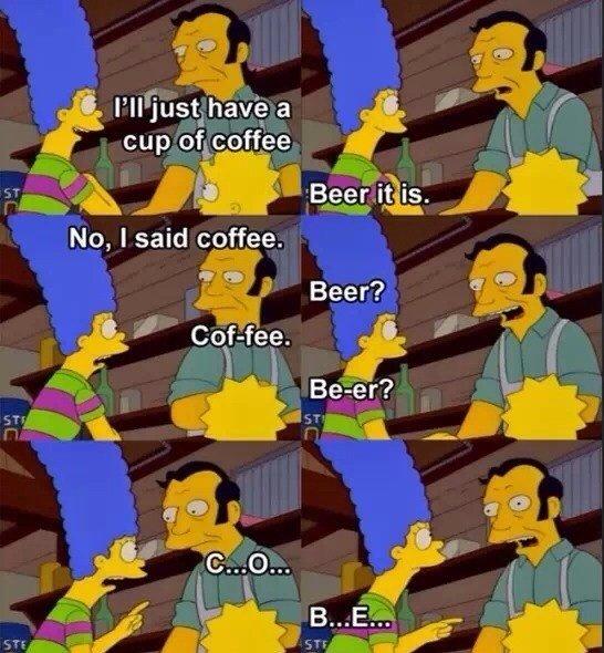"""Cof-Fee. . Ill; g No, I said coffee.. """"Bart vs. Australia"""" Season 6, Episode 16 Cof-Fee Ill; g No I said coffee """"Bart vs Australia"""" Season 6 Episode 16"""