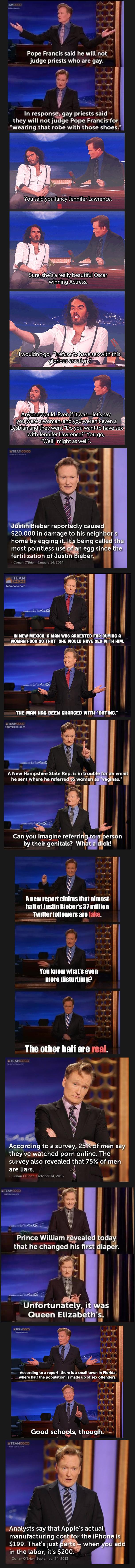 Conan Comp. Some Conan jokes I collected and thought you might enjoy.. conan Beiber ha