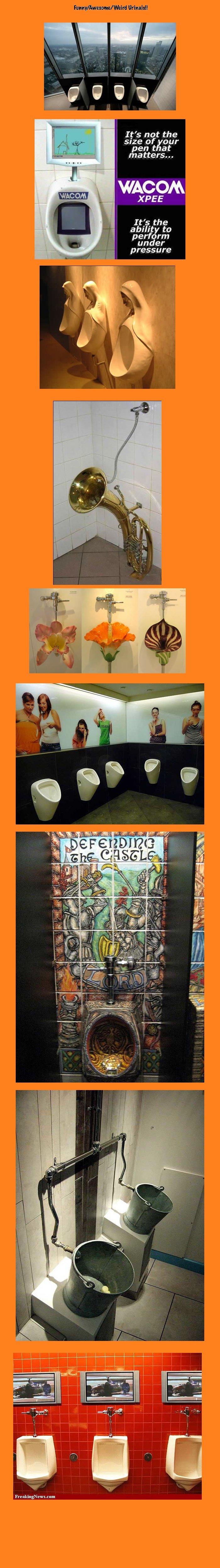 Crazy Urinals Part 1. GRAPHS FTW <br />. ...Wish I had a penis.... All I have is Tiger's balls Crazy amazing urinals