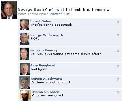 George Bush Facebook . Robert Gates -Secretary of Defense (U.S Armed Forces)<br /> George W.Casey,Jr-Chief of Staff (U.S Army)<br /&g george bush facebook chat