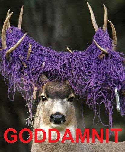 Goddamnit. Rope's a bitch. Buck Deer string climbing rope rope tangled God damnit Goddamnit