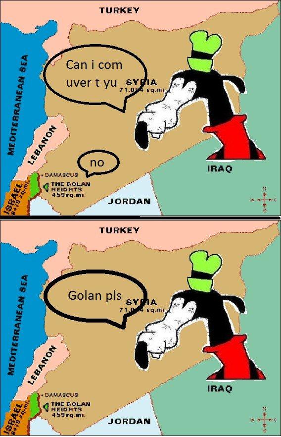 "Golan pls. . TI] REE? ulfer t "" TI] REE?. 100% OC got the idea in a ""history"" lesson in school dolan golan gubby pls"