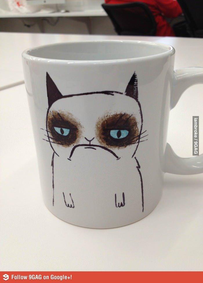 Grumpy Mug. Not OC. I Laughed, so I'll share.. S Failng 96116 on Googleing. Nice watermark Grumpy cat mug funny