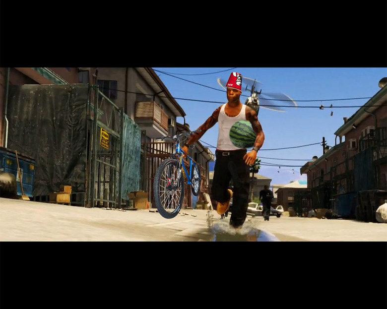 "GTA 5 Screenie. Credit to ""Has"" from gtaforums.com; made me laugh so hard.. nonoc black guy dude man Racist Chicken KFC watermelon grape Juice gta v trailer"