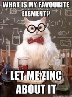 kitty kitty pun pun. dont zinc too long kitty.. made me lol thumb for thyself sir cat science