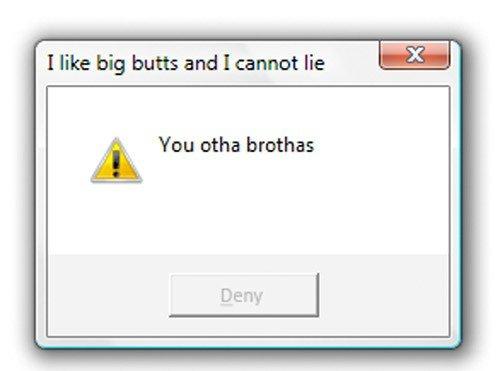 oh internet, you dog. trolololololololol. I like big butts and I cannot lie Lt You otha brothas Deny I oh internet you dog