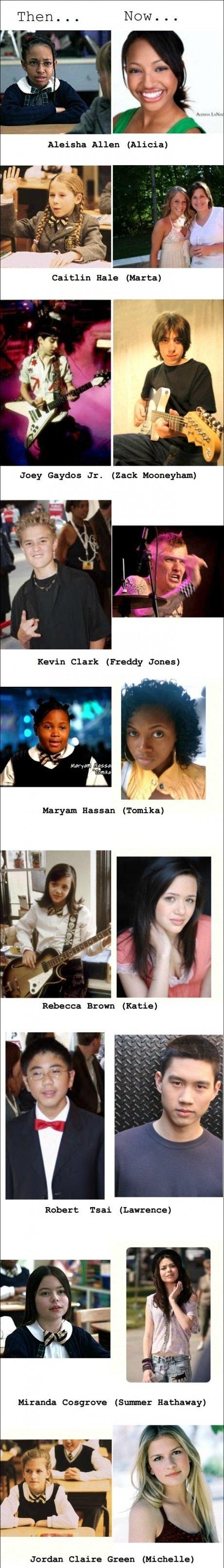 School of Rock cast then and now. . Caitlin Hale {Marta} Joey Gaydar Jr. {Zack ', Ila Hobart Taar {Lawrence} Jordan Claire Graan [iall, ! t, rt', then now