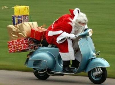 Scootah Santa!. . Santa Scooter moped Reindeer Christmas xmas new year noel hohoho funny hilarious lol