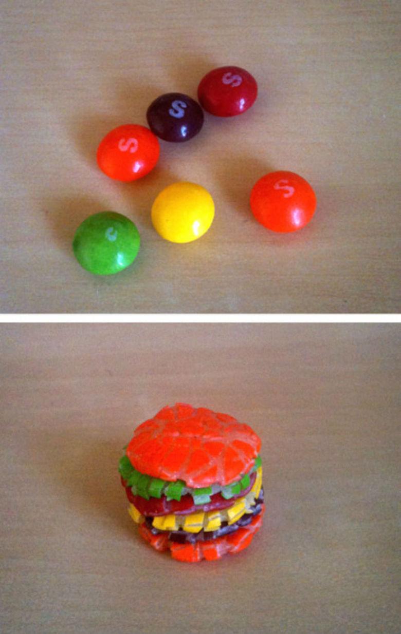 Skittles Burger. .. taste the rainbow Skittles Burger taste the rainbow