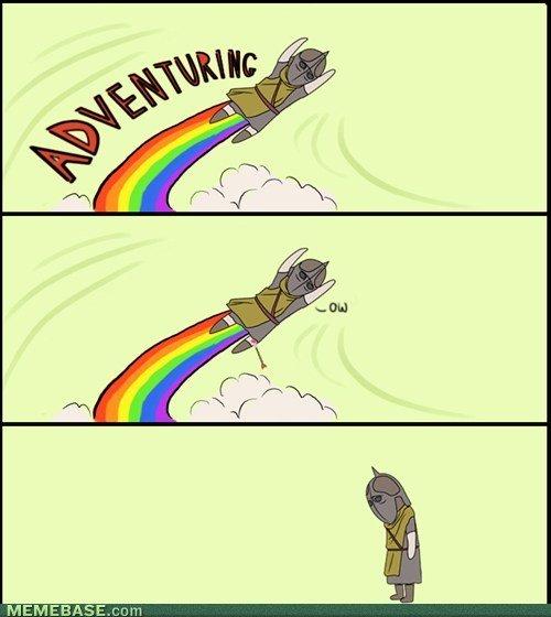 Skyrim knee adventure. Not mine found it on meme base. All credz to them. r. s% Meritt Knee arrow adventure