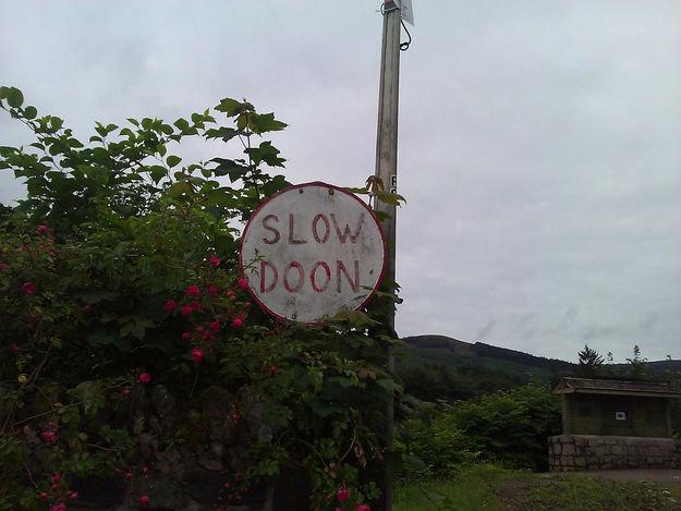 slow doon. .. Scotland? slow doon Scotland?
