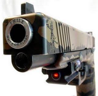 Smile for the Shot. Smile! XD.. Metal guns smile funny
