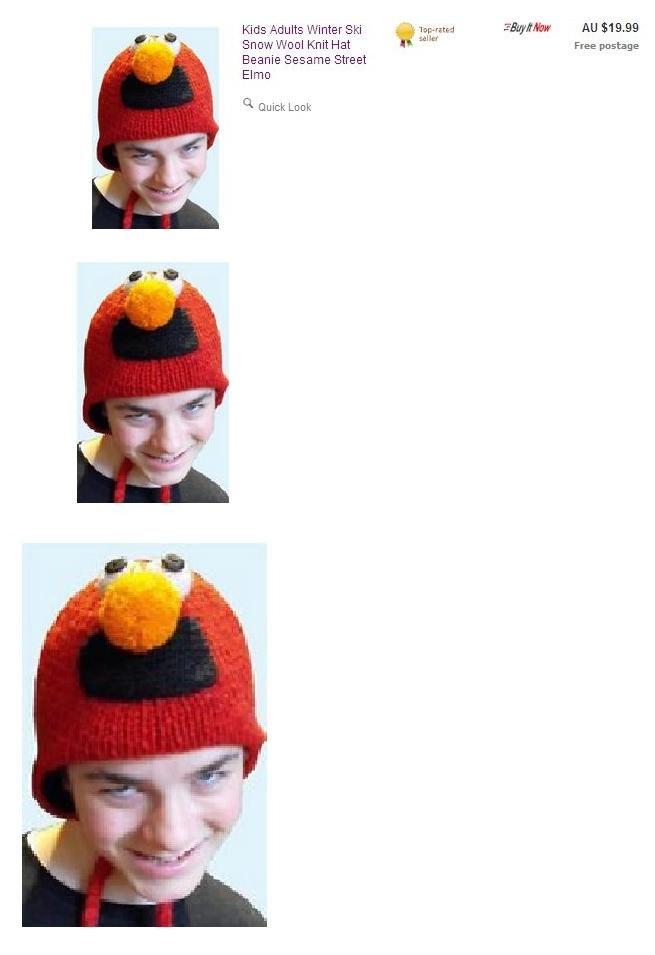 "So I'm just rolllin' through Ebay when... Good lord have mercy.. Knit Hat Ill' ""M Free postage Beanie Sesame Street Elmo"
