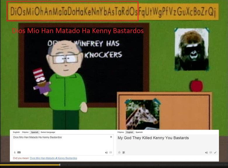 "South Park. . English Filipino Spanish . . Tii : Spanish Dias Mic: Han ' Ha Kenny Bastardizes lit' Gad -) ""."" Kenny YD"" Bastardo LII yesx. South Park English Filipino Spanish Tii : Dias Mic: Han ' Ha Kenny Bastardizes lit' Gad -) "" YD"" Bastardo LII yesx"