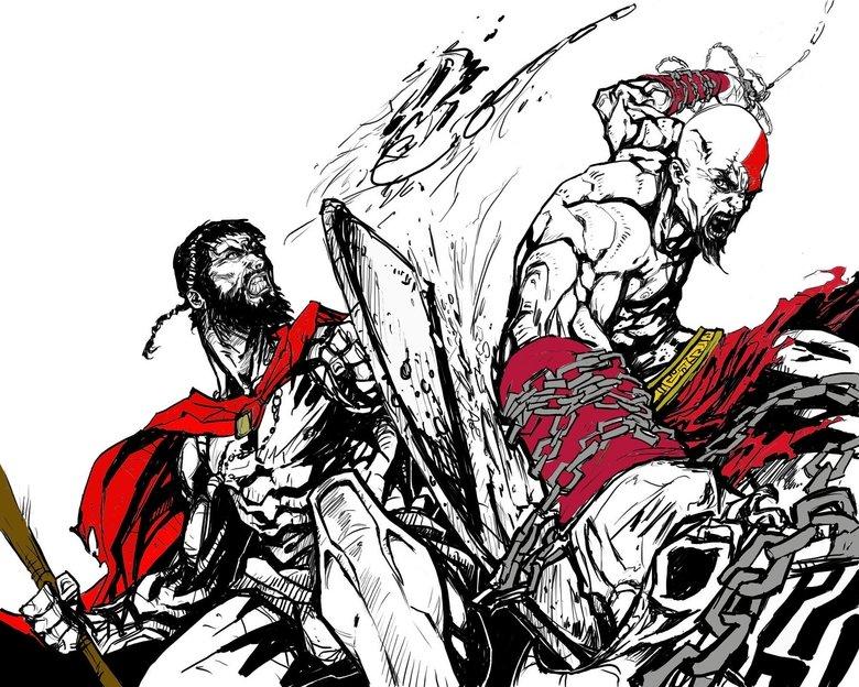 Spartan Vs. Spartan. .. Kratos FTW spartans vs king Leonidas sparta Kratos God of War Playstation three hundred Movie game