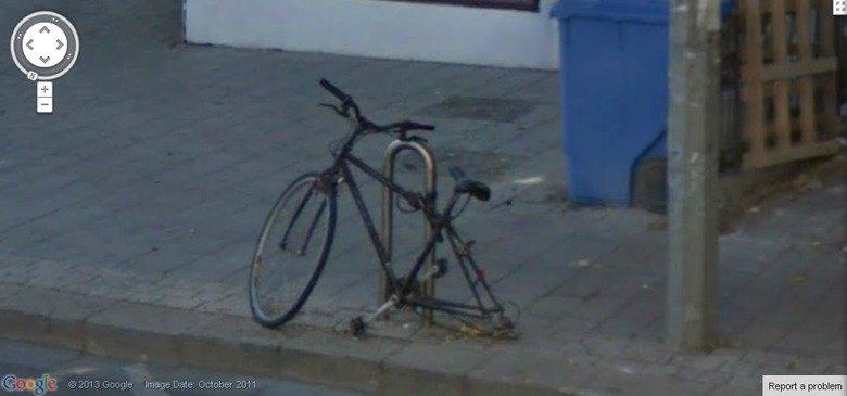 Steal my bike.... ....please?. t. iij. E: 2013 Bungle Image Date: October 2011 Google earth bike on wheel The Game Unicycle