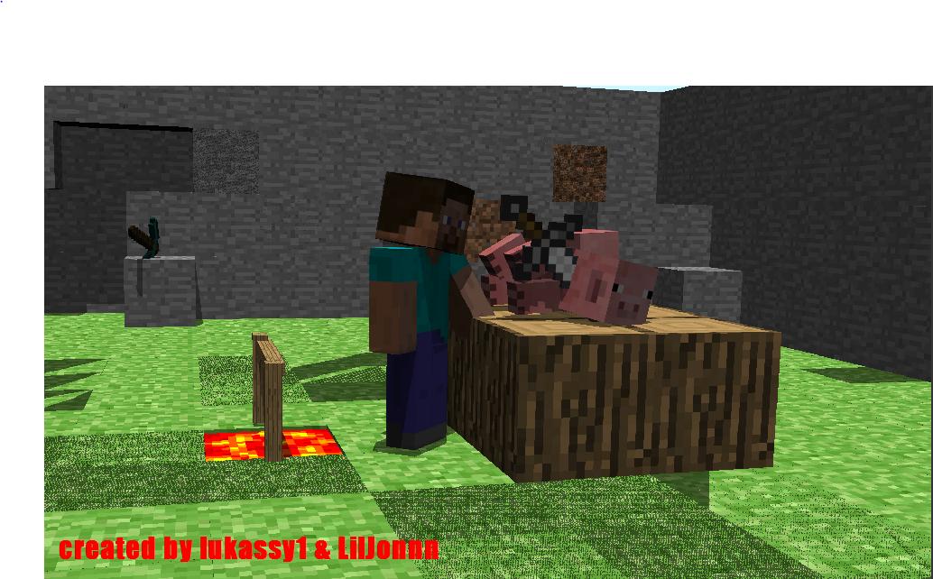 """Steve kill Pig 2. . an ' Toe wig ll ivs r """"alus. >pig is kill >no Minecraft wallpaper steve lukassy kill Food new Awesome"""