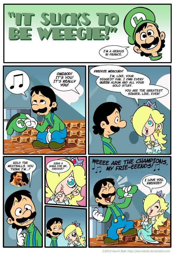 Weegie Are The Champions. Source: www.deviantart.com/art/It-Sucks-to-be-Luigi-Fre..... Luigi's Ballad queen freddie mercury  Video Games luigi Mario