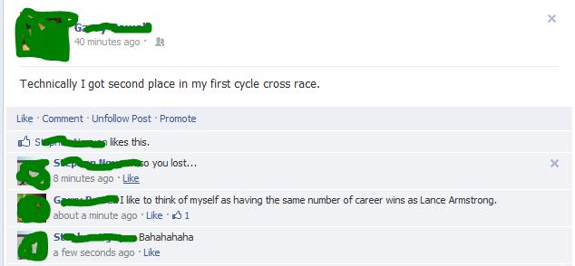 Well, yeah.... . Lance Bikes wins fails