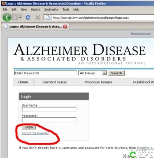 What's my login?. . ALZHEIMER DISEASE DISORDERS hue