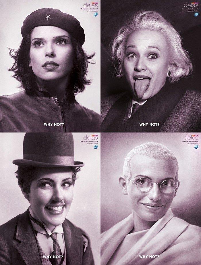 Why Not?. Female Che Guevara, Albert Einstein, Charlie Chaplin & Ghandi. WHY NOT? WHY NOT?. To me, female Albert Einstein looks a little like Marlyn Monroe... Why Not? Female Che Guevara Albert Einstein Charlie Chaplin & Ghandi WHY NOT? To me female looks a little like Marlyn Monroe