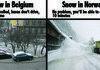 Snow in Belgium and in Norway