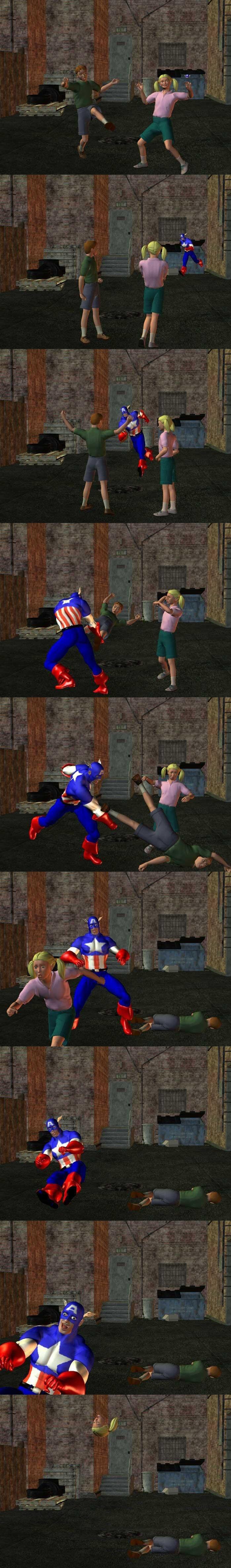 Captain America to the rescue.. . choo choo motherfucker