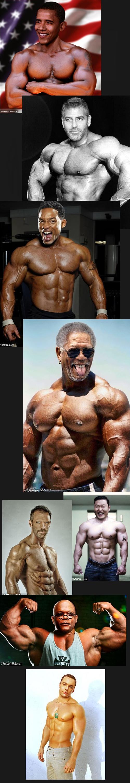 Celebrities as bodybuilders. Do you even lift brah? Not mine.. That Sheldon... Morgan Freeman lifts