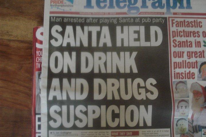 Christmas Headlines. . SAN A HELD i,! tht DRINK AND DRUGS . Christmas Santa Headline