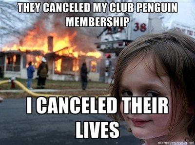 Club Penguin CANCELED!. Little Lexi enjoys club penguin.. WES disaster girl funny club penguin canceled fire
