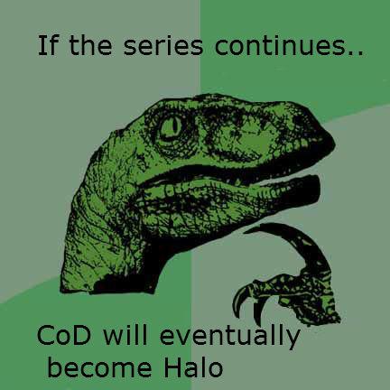 CoD and Halo. WWII Vietnam Modern Warfare Future Warfare Halo. If the series continues, COD will eventual Iii- become Halo call of duty Halo series