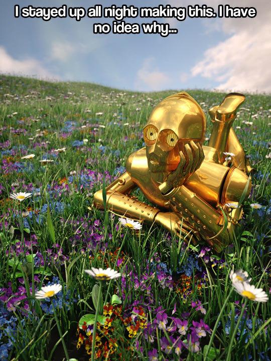 Contemplative C-3PO…. Contemplative C-3PO… . funny