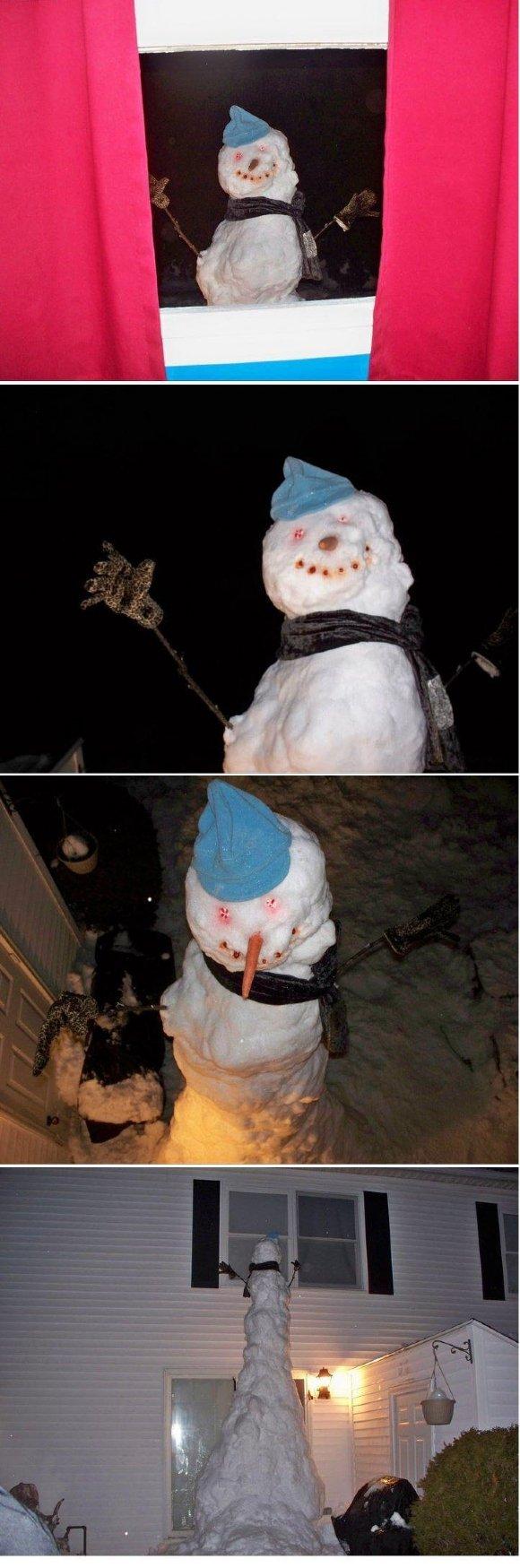 Creepy Snowman. Not mine, I'll admit it. <br /> <br /> If you don't thumb up, that snowman will be outside your bedroom tonight...loljk.. K-kill meee... snowman creepy creeper tall weird Temari