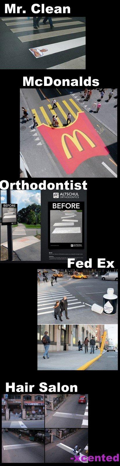 Crosswalk Ads. some really cool crosswalk ads that i found...hope you like it!<br /> if i get +15 thumbs il post more cool stuff. ALTSA HUL BFORE cool crosswalk a