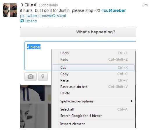 "#cut4bieber. . it hurts, but I CID it tor Justin. please stop t/ 3 # Expand What' s happening? Cut Copy Paste Paste "" plain text Delete acker options Select all #cut4bieber it hurts but I CID tor Justin please stop t/ 3 # Expand What' s happening? Cut Copy Paste "" plain text Delete acker options Select all"