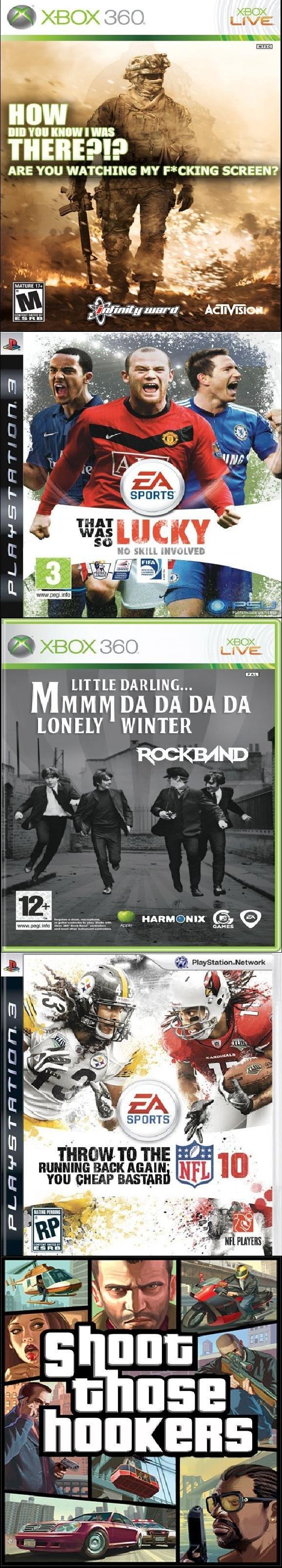 Game Titles In Real Life. creds to college humore. Ill; E ll tljp warn Adel h/ l LITTLE DARLING... DA DA DA DA LONELY WINTER You sump ? 5 pr game titles real