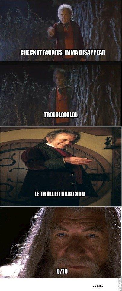 Gandalf is not amused. OC, of course.. It MM Mill LOTR gandalf bilbo troll