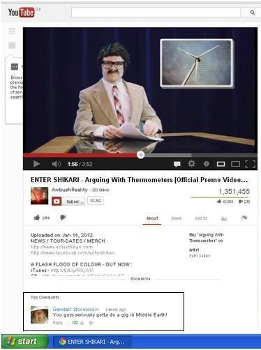 Gandalf. . entershikari youtube gandalf comment