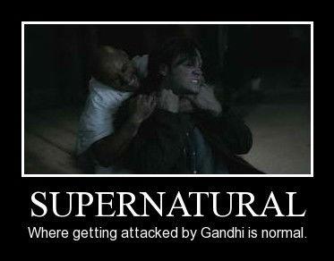 Gandhi. Made it using tasteofawesome, clearly.. supernatural sam winchester Gandhi Seems Legit