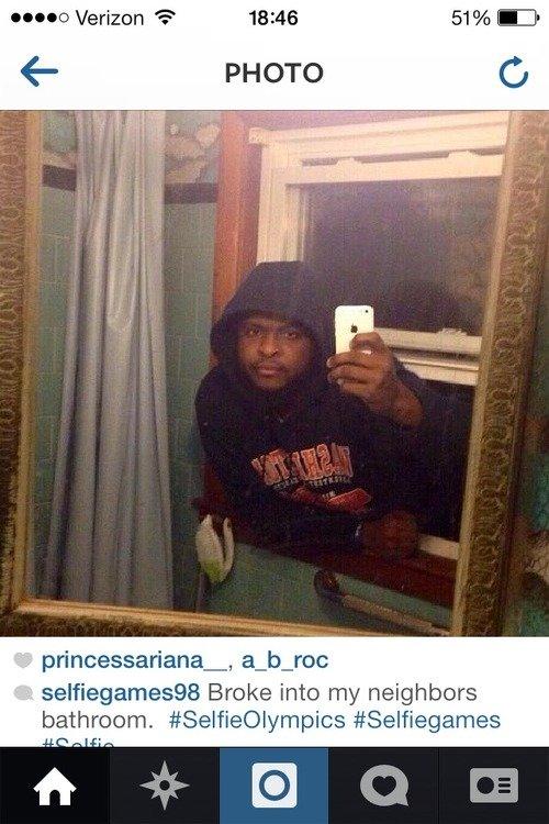 Gold Medal. . Br: -he into ; neighbors bathroom. selfie olympic win