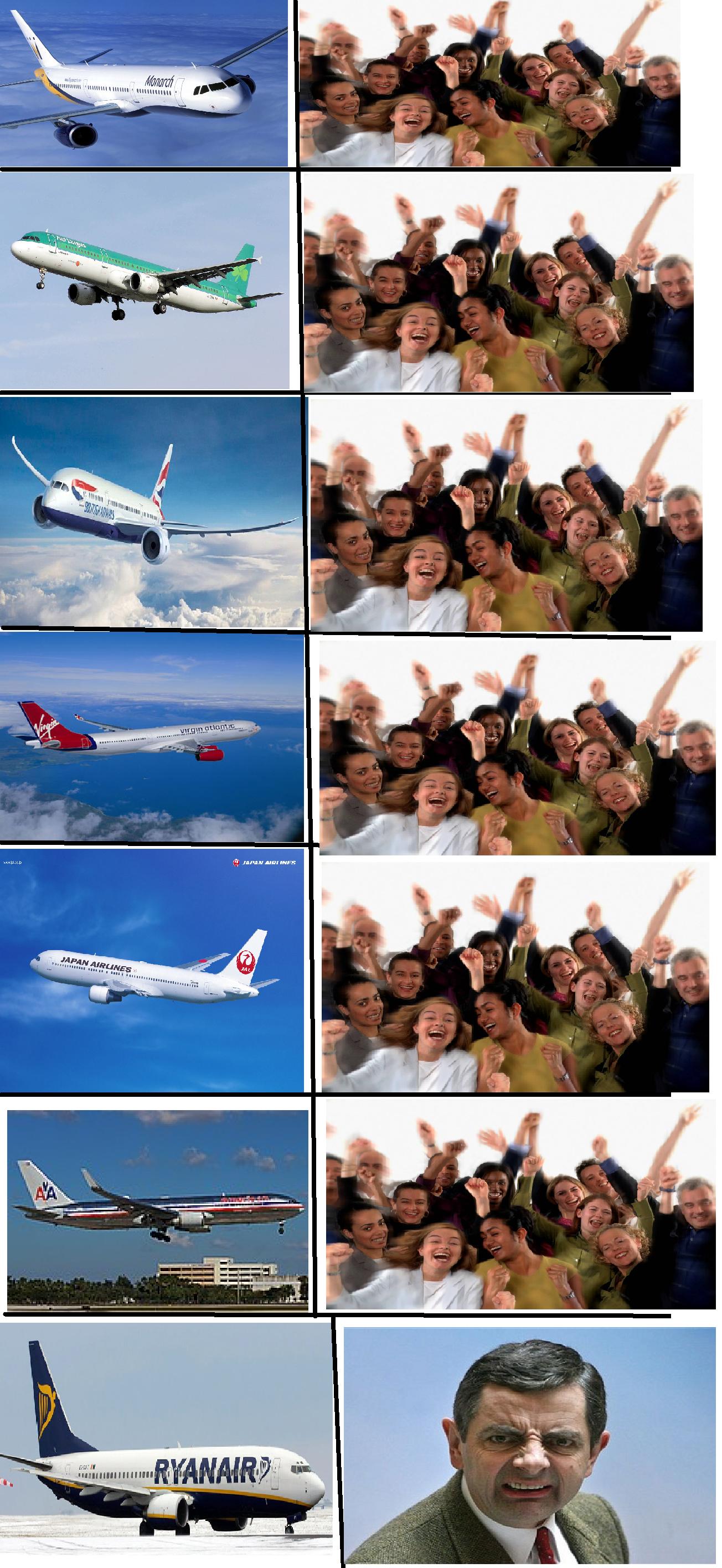 Good ol' Ryanair. The people want QUALITY...... Airplane jal aer lingus Virgin monarch Ryanair Crowd british airways