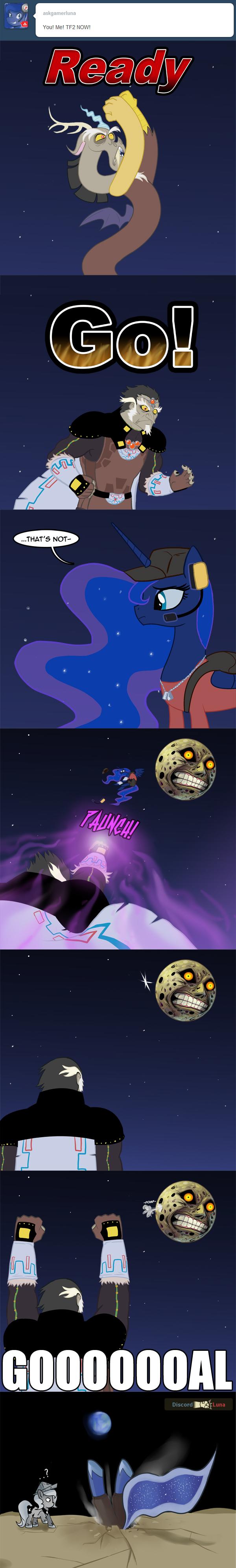 GOOOOOOAL!. source: askgamerluna.tumblr.com.. Now, fight me. MLP tumblr Discord Ganondorf Gamer Luna The moon goal
