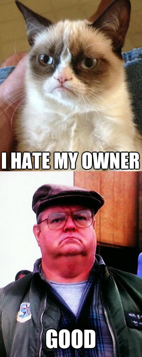 Grumpy Cat's Owner.... ...is grumpy.. grumpy cat no cat cat meme cat meme