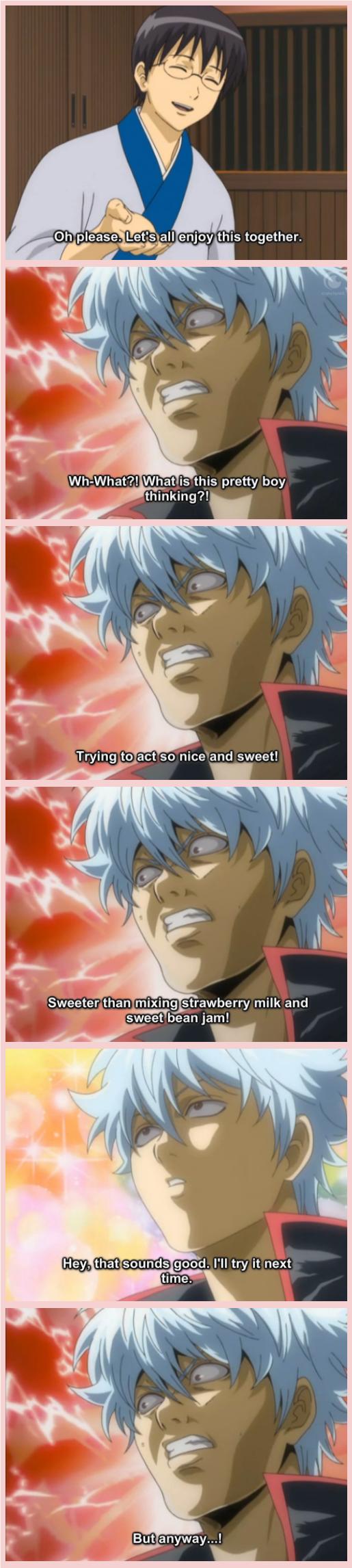 gurasan. Gintama.. Gin x Strawberry Milk is best ship. Gintama funny Anime