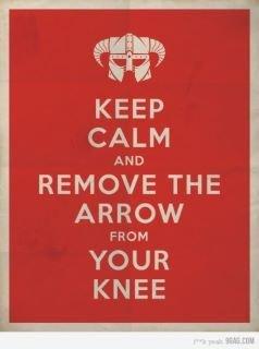 Keep calm. . tlt' KEEP CALM AND REMOVE THE ARROW FROM YOUR KNEE Keep calm tlt' KEEP CALM AND REMOVE THE ARROW FROM YOUR KNEE