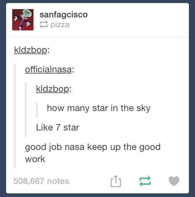 Keep it up NASA. . 3 Bail how many star in the sky Like 7 star good job nasa keep up the good work Keep it up NASA 3 Bail how many star in the sky Like 7 good job nasa keep work